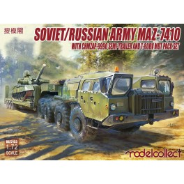 Soviet/Russian Army MAZ-7410 with CHMZAP-9990 Semi Trailer and T-80BV MBT Pack Set