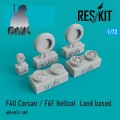 F4U Corsair /F6F Hellcat Landed Baed Wheels Set 1/72